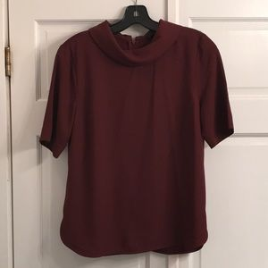 Ann Taylor maroon collared zip back blouse